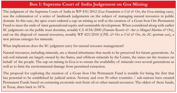 Economic Survey 2016-17 Chapter 13 Box 1 Supreme Court of India Judgement on Goa Mining.jpg